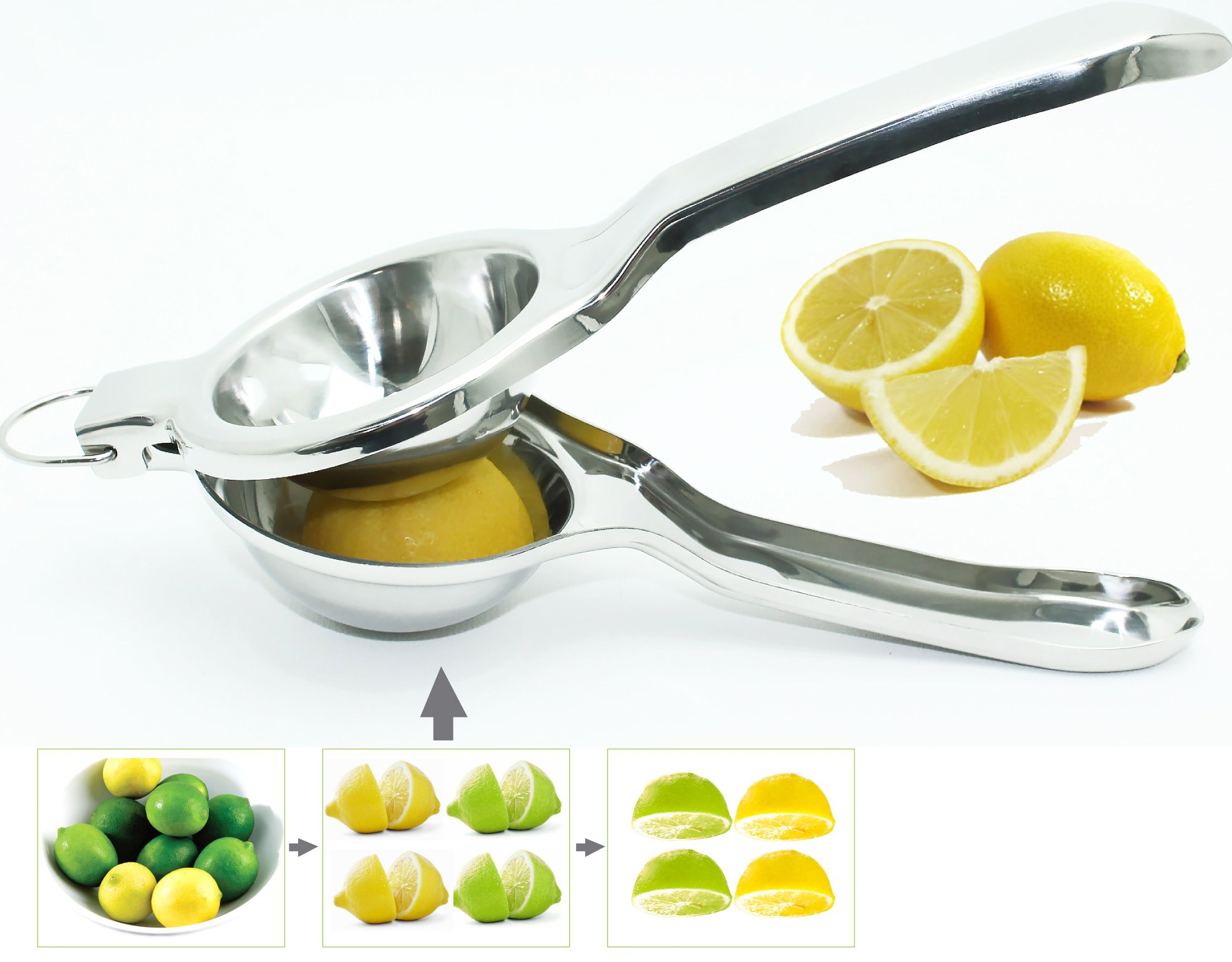 EcoJeannie LS0001 Professional Jumbo Stainless Steel Lemon and Lime Squeezer and Juicer with Free Citrus Tap, 9.25-Inch, Silver by EcoJeannie (Image #2)