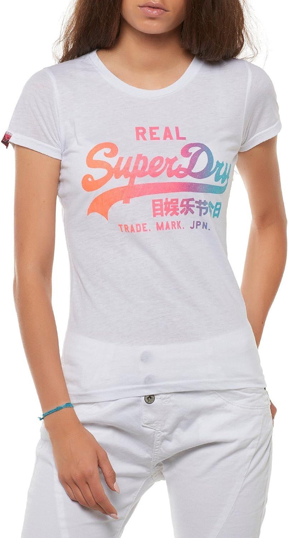 Superdry T-Shirt Women VINTAGE LOGO STRIPE Fluro Pink Stripe