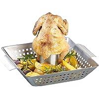 Rosenstein & Söhne Hähnchenbräter: BBQ-Hähnchen-Griller mit Aroma-Behälter für ganze Hähnchen (Grillguthalter für Hähnchen)