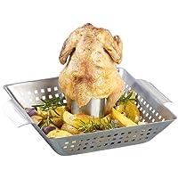 Rosenstein & Söhne Hähnchenbräter: BBQ-Hähnchen-Griller mit Aroma-Behälter für ganze Hähnchen (Chicken-Hähnchengriller)
