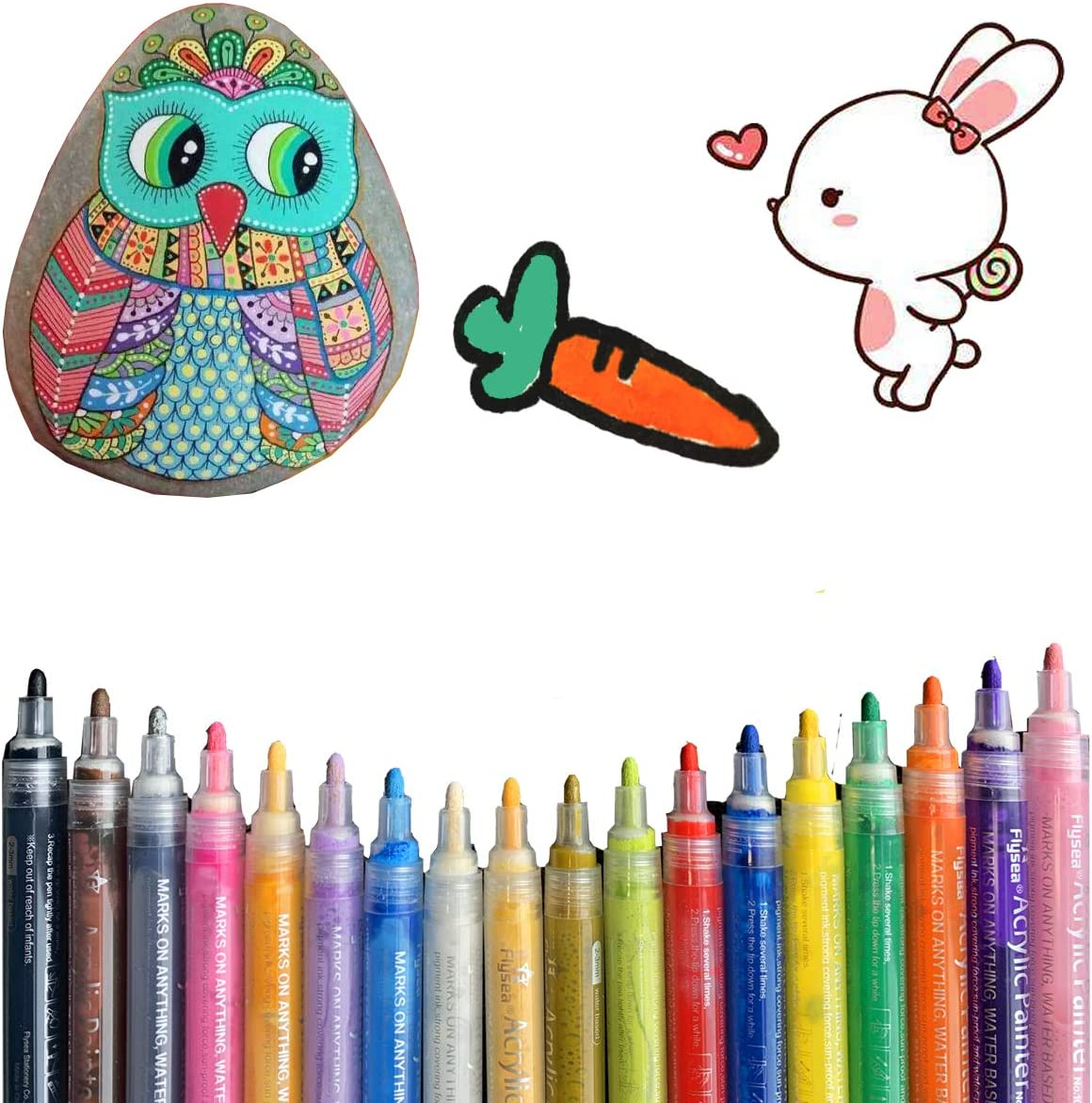wood and Easter eggs Acrylic Paint Marker Pens cups for painting stones glass ceramics 18 Colors canvas waterproof acrylic paint marker set non-toxic