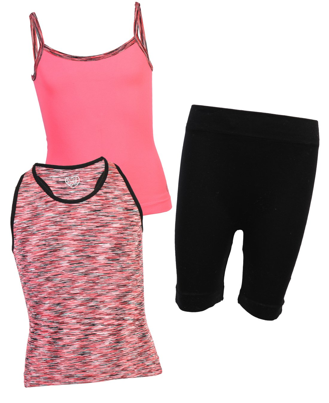 Body Glove Girl's 3-Piece Athletic Tank Tops and Shorts Sets, Coral, 10/12'