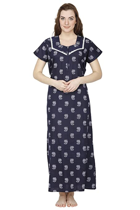 Secret Wish Women's Cotton Nighty, Nightdress (Free Size) Nightdresses & Nightshirts at amazon