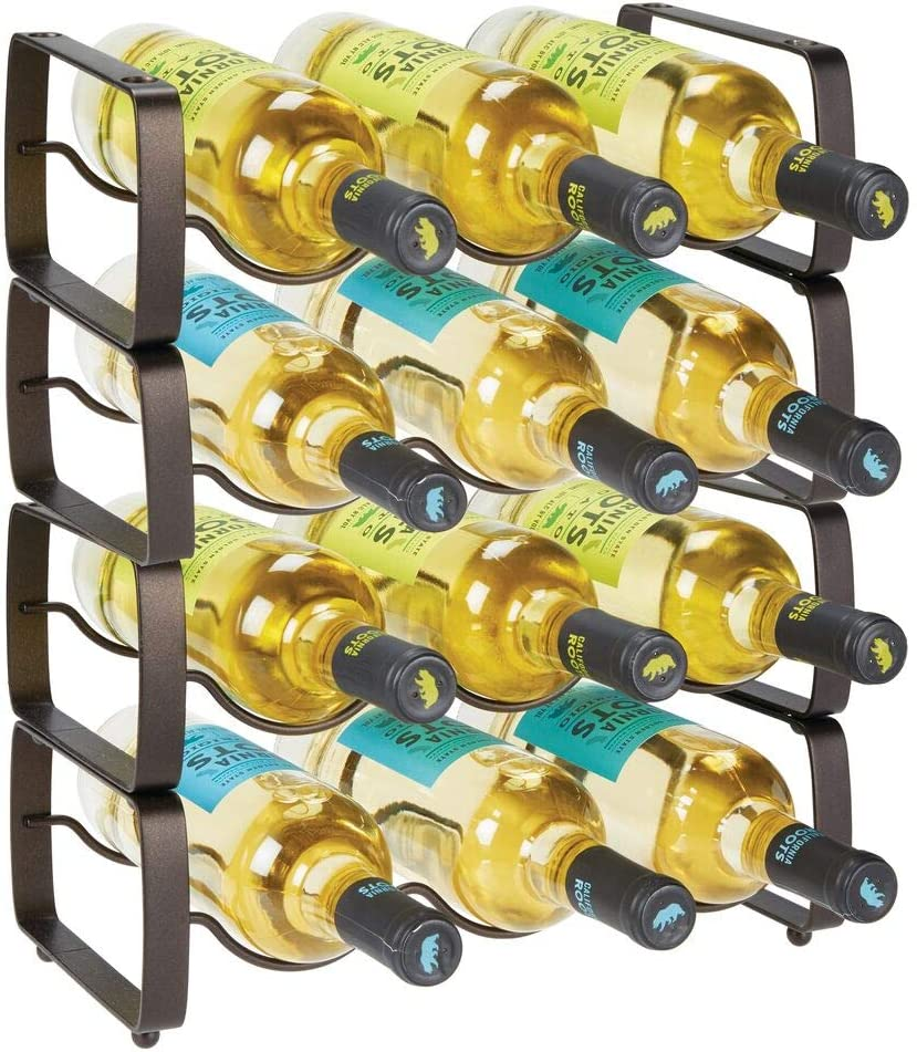 mDesign Metal Steel Free-Standing 12 Bottle Modular Wine Rack Storage Organizer for Kitchen Countertop, Table Top, Pantry, Fridge - Holder for Wine, Beer, Pop/Soda, Water, Stackable - Bronze