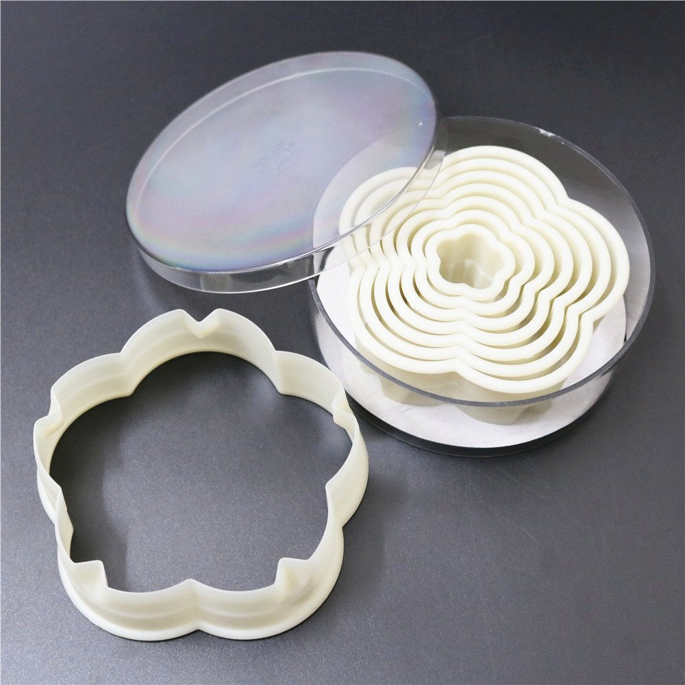 (8pcs/set) Flower Cookie Cutter plasitc cutters Lace Borders Kids favorite blossom mold fondant cake tools by lobake (Image #1)