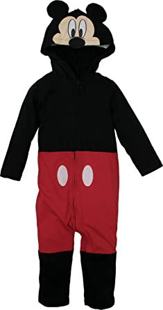 e6c6f1a5c Amazon.com: Mickey Mouse Disney Baby Boys' Zip-Up Hooded Costume Coverall:  Clothing
