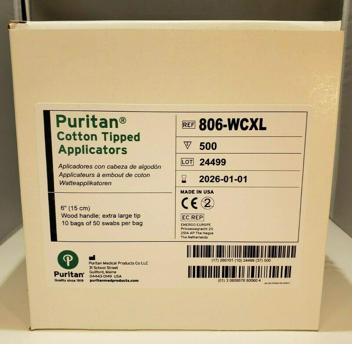 Puritan Cotton Swab, Extra Large Tip, 6In. Wood Shaft, 500/Box