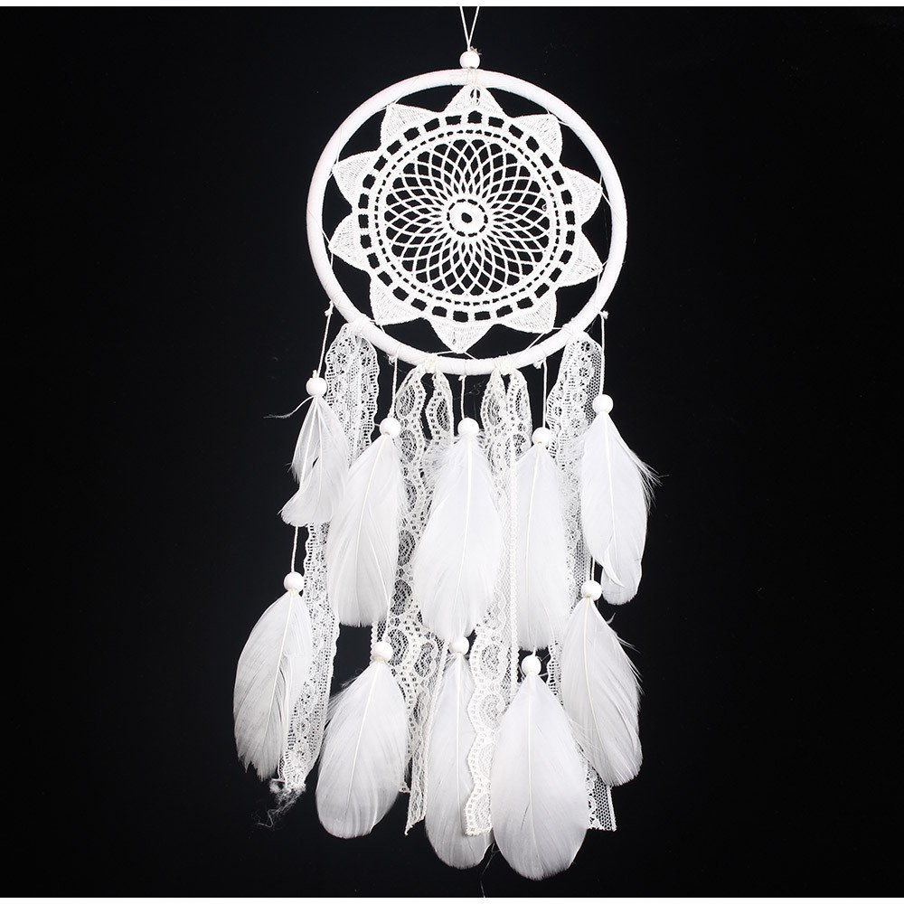 White Dream Catcher Traditional Lace Sunflower DreamCatcher Handmade Beaded Feather Wall Car Hanging Decor Ornament Gift ShengDi