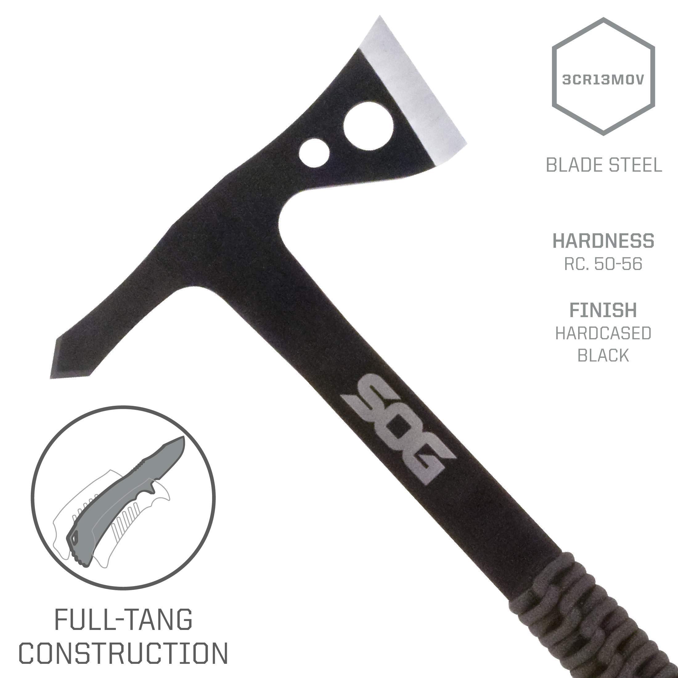 SOG Tomahawk Pack of 3 - Throwing Hawks Throwing Axe Set and Full Tang Tactical Hatchet Pack w/ 1.75 Inch Blades and Camping Axe Sheath (TH1001-CP) by SOG Specialty Knives (Image #3)