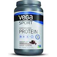 Vega Sport Protein Powder Chocolate (19 Servings, 1.86 lb) - Plant Based Vegan Protein Powder, BCAAs, Amino Acid, tart cherry, Non Dairy, Gluten Free, Non GMO