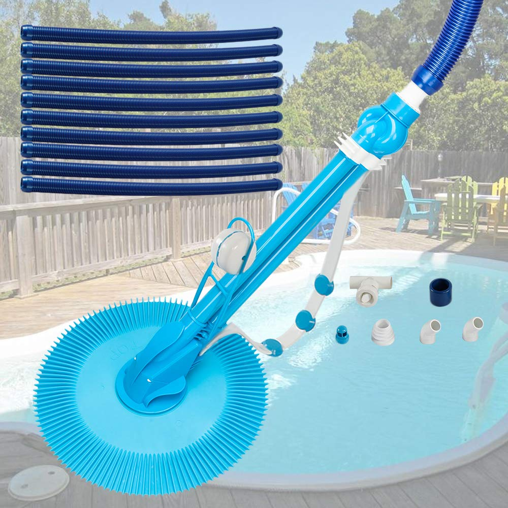 seelee Pool Cleaner, Automatic Suction Pool Cleaner with 10pcs Durable Hose, Automatic Suction Vacuum-Generic Climb Wall Pool Cleaner (US Stock) by seelee