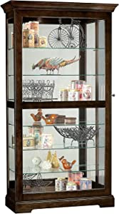 Howard Miller Tyler III Curio Cabinet 680-536 – Espresso Finish Home Decor, Six Glass Shelves, Seven Level Display Case, Locking Slide Door, No-Reach Light