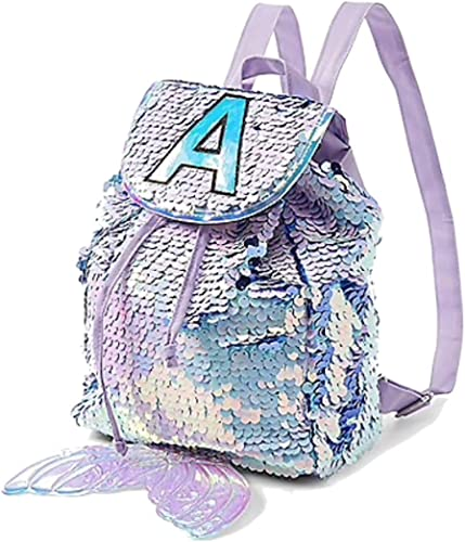 Justice Mini Small Backpack Rucksack Flip Sequin Lilac Mermaid Initial Letter H