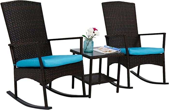 kinbor 3 Piece Brown PE Rattan Rocking Chairs Outdoor Bistro Set with Glass Coffee Table Wicker Rocker Outdoor Furniture with Blue Cushions for Front Porch, Garden, Lawn, Deck, Pool