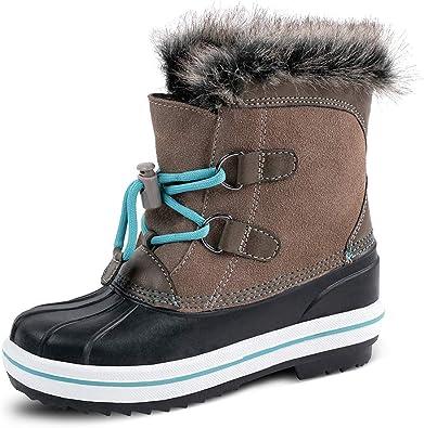 Amazon.com | HZSTAY Cow Suede Leather Girls Waterproof Winter Outdoor Snow  Boots(Litter Kids/Big Kids) | Boots