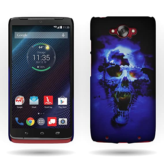 Motorola Droid Turbo Case, By CoverON Blue Skull Design Shell Cover Hard Case For Motorola
