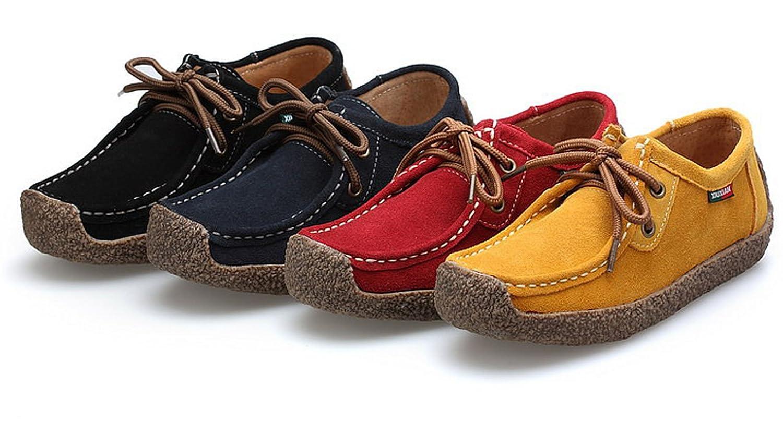 XIUXIAN Women Snail Casual Lace-up Genuine Leather Flat Sneaker Shoes
