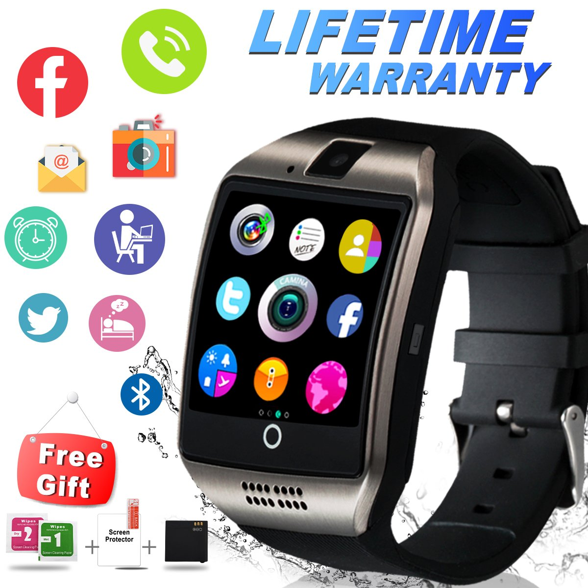 Bluetooth Smart Watch With Camera Sim Card Slot Touch Screen Smartwatch Unlocked Cell Phone Watch Sports Smart Wrist Watch For Android Phones Samsung Sony IOS I (Q-Black)