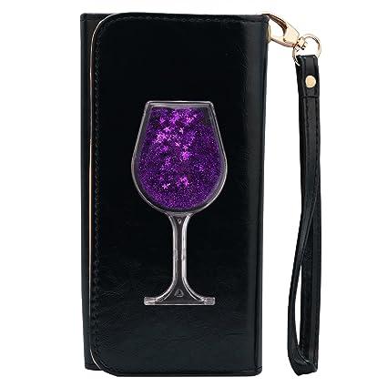 Billetera bling bling, bakacase Bling Glitter Sablier Quicksand Design Monedero Bifold Wallet multifuncional porte-étui cierre ...