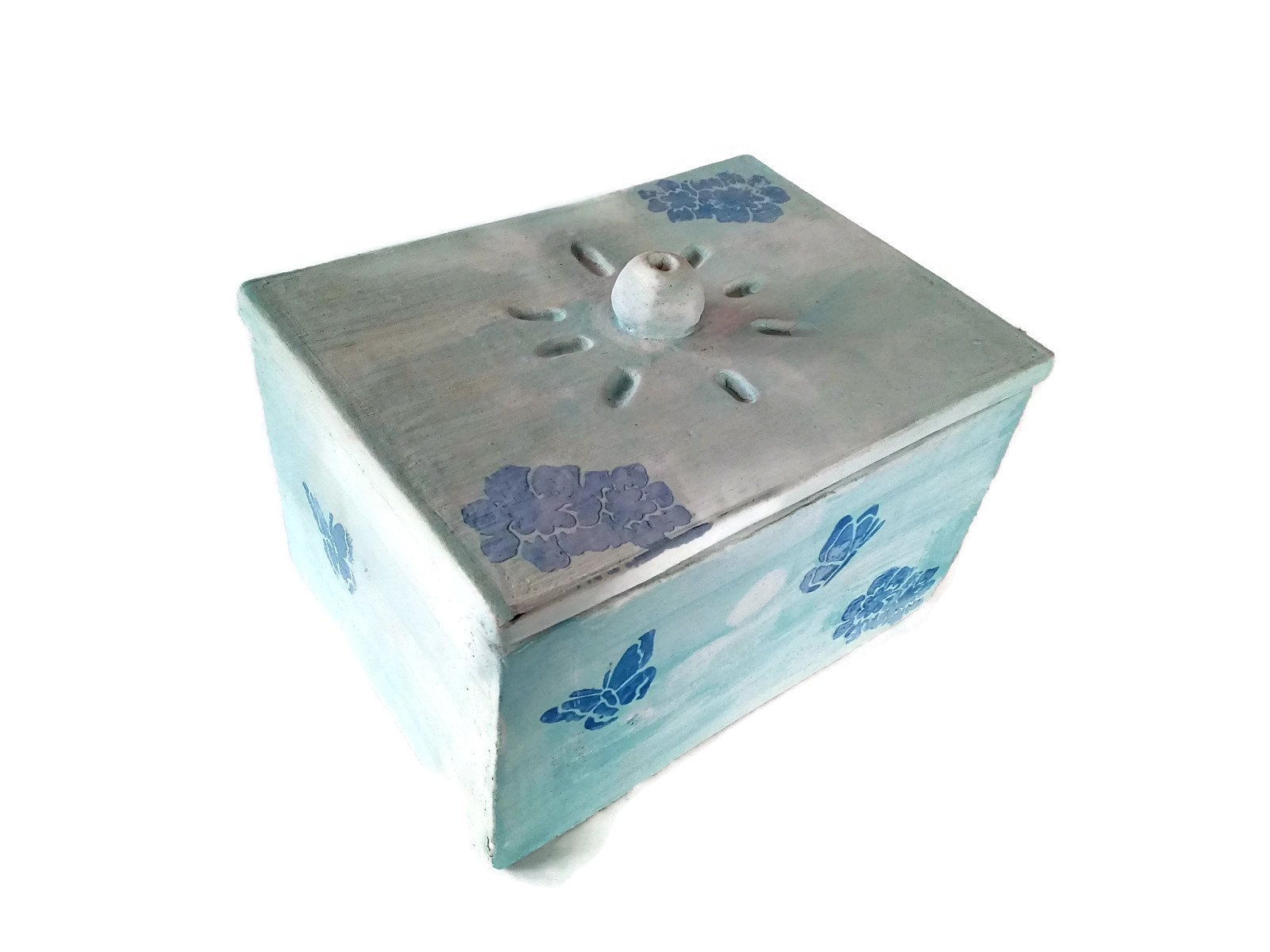 Handmade blue ceramic box, large box with lid, hand painted with butterfly motifs
