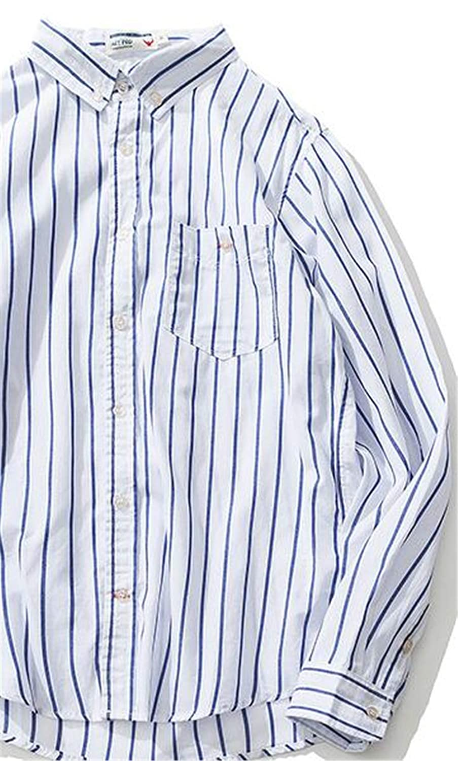 Mens Shirt Long Sleeve Simple Striped Shirt Youth Fashion Joker Casual Shirt