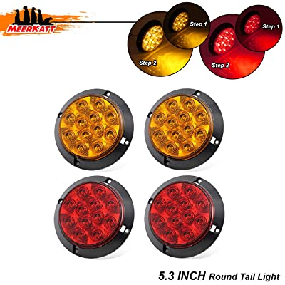 Meerkatt (Pack of 4) 4 Inch Set Include 2 Amber + 2 Red LED Trailer Marker Tail Light Extra Bright Stop Parking Rear Turn Signal Bus Lorry RV Camper Motorhomes Jeep Truck Tow 12V DC Surface Mount GK12: Automotive