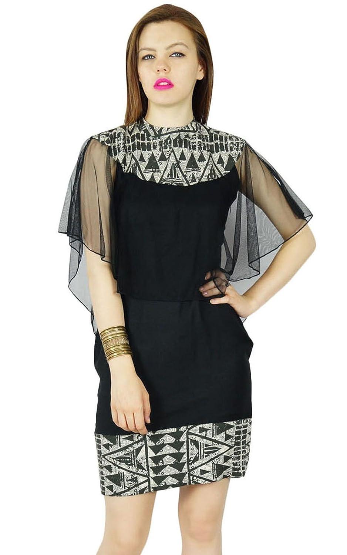 Bimba Frauen kurze, figurbetontes Kleid mit stilvollen Poncho oben schwarz Rayon lässig mini