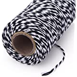 KINGLAKE 328 Feet Baker's Twine,Cotton Crafts Twine,Heavy Duty Christmas Holiday Twine,Great Packing Twine Black and White String