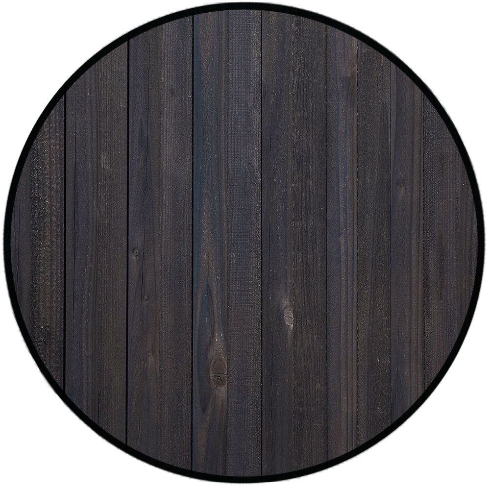 Printing Round Rug,Dark Grey,Wood Fence Texture Image Rough Rustic Weathered Surface Timber Oak Planks Decorative Mat Non-Slip Soft Entrance Mat Door Floor Rug Area Rug For Chair Living Room,Dark Grey