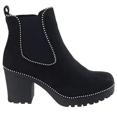 c3f2ab19fdccd Womens Ladies MID HIGH Block Heel Studs Platform Chelsea Ankle Boots Shoes  Size [Black Faux