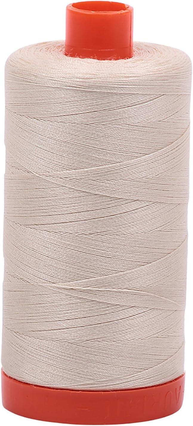 2024+2310+2324 Aurifil Mako 100/% Cotton 50wt Thread 3 Large 1422yd Spools: White Light Beige Stone