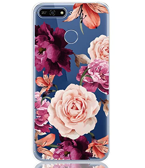 meet fc83f bf995 BAISRKE Huawei Y6 2018 Case, Honor 7A Case with Flowers Slim Shockproof  Clear Floral Pattern Soft Flexible TPU Back Cove for Huawei Y6 2018 /Honor  ...