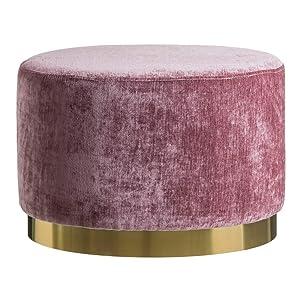 CH DESIGN MOBLES NACHER Puffs Modernos - Puf Terciopelo Rosa/Dorado Oval (60x40x40)