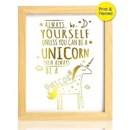 Amazon.com: Unicorn Inspirational Quotes Framed Art Prints ...