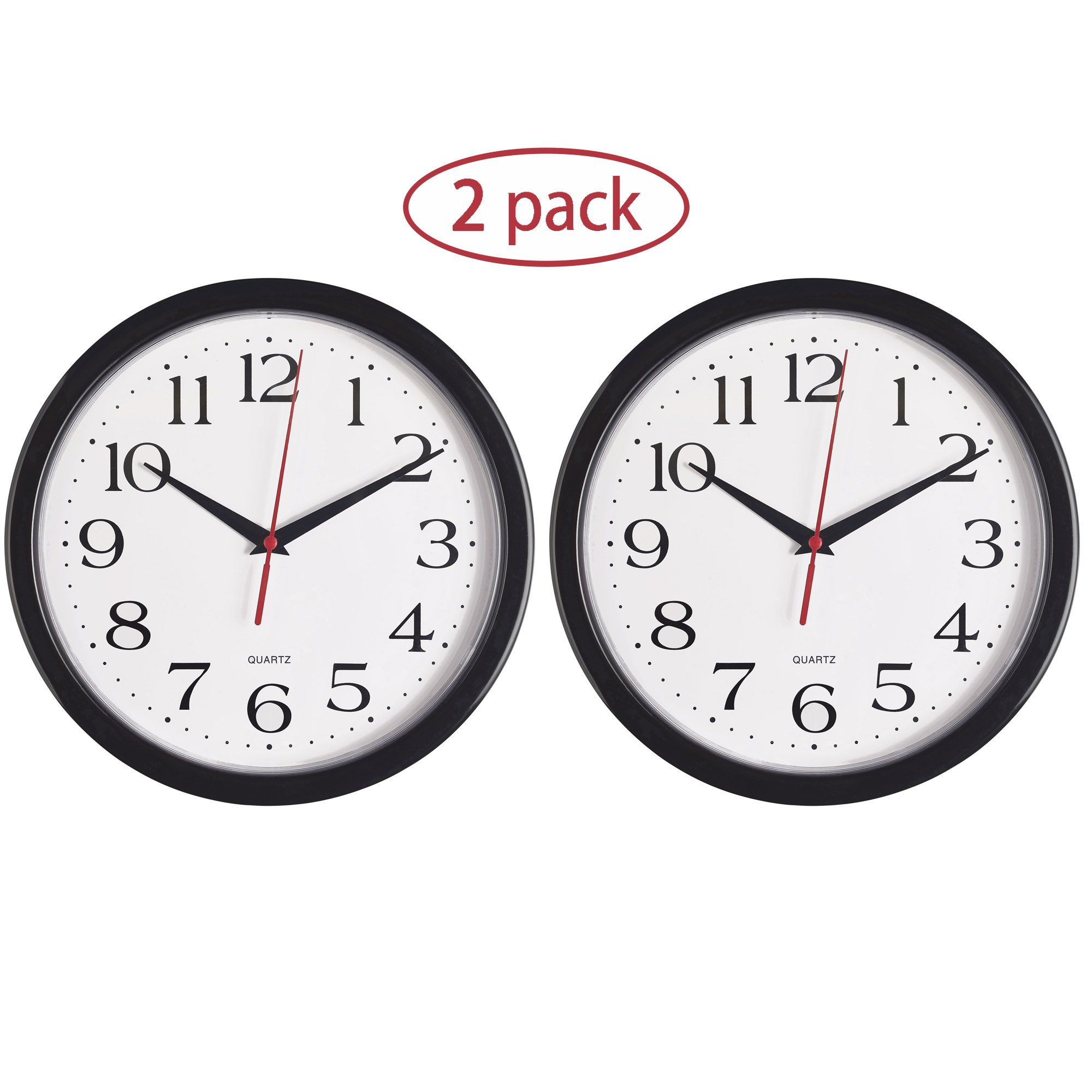 Bernhard Products - Black Wall Clocks, 2 Pack Silent Non Ticking Quality Quartz Battery Operated 10 Inch Round Easy to Read Home/Office/School Clock (Black)