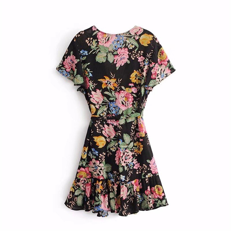 Robin Santiago Boho Vintage Floral Print Wrap Mini Dress Women 2018 New Fashion V Neck Short Sleeve Casual Vestidos Mujer at Amazon Womens Clothing store: