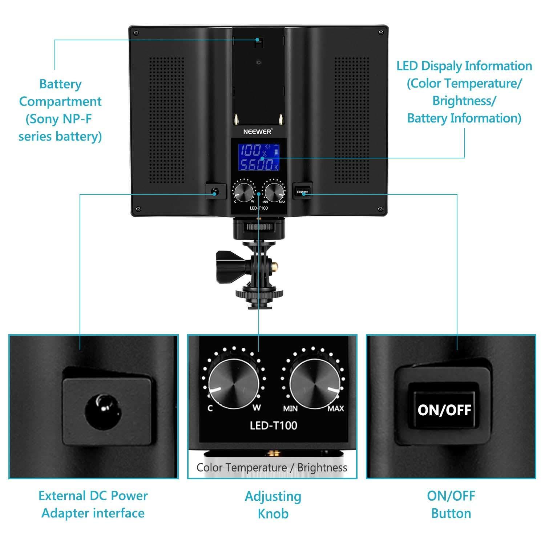 Neewer Mini Luce LED Ultra Luminosa Compatibile con DJI Ronin-S OSMO Mobile 2 Zhiyun WEEBILL Smooth 4 Gimbal Reflex Digitali Canon Nikon Sony ecc. 81 Bulbi Dimmerabili a Potenza Alta