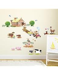 Decowall DW-1407 Pony Club & Farm Animals Peel and Stick Nursery Kids Wall Decals Stickers