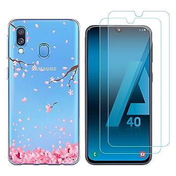 Funda Samsung Galaxy A40 Flor del Ciruelo Suave TPU Silicona Protector Trasero Carcasa para Samsung Galaxy A40 (5,9 Pulgada) con Dos Protector de ...