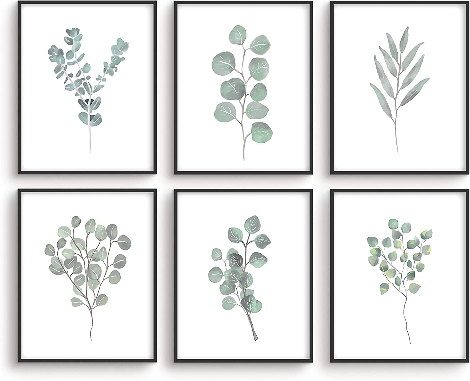 "Leaf Prints Botanical Wall Decor - By Haus&Hues | Set of 6 Botanical Art Prints & Eucalyptus Leaves Wall Decor | Botanical Prints Wall Art Eucalyptus Wall Decor Plant Decor | Unframed, 8"" x 10"""