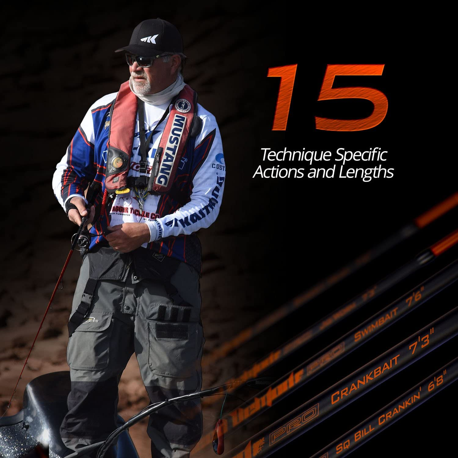 KastKing Speed Demon Pro Tournament Series Bass Fishing Rods Elite Carbon High Modulus 1 Pc Blanks 15 Technique Specific Lengths /& Actions-Spinning /& Casting Fuji Guides /& Reel Seats Winn Grip