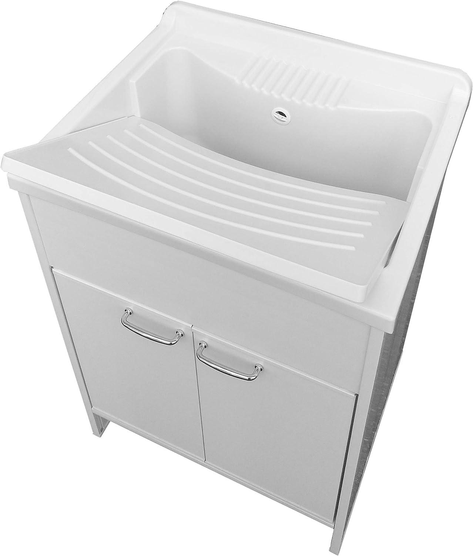 NG - Lavadero automático de resina para exterior, 60 x 50 x 85 cm, color blanco