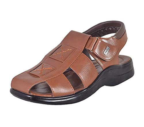 5d021b085e4e23 MAGIC TREE Velcro Leather Sandal for Men-033  Buy Online at Low Prices in  India - Amazon.in