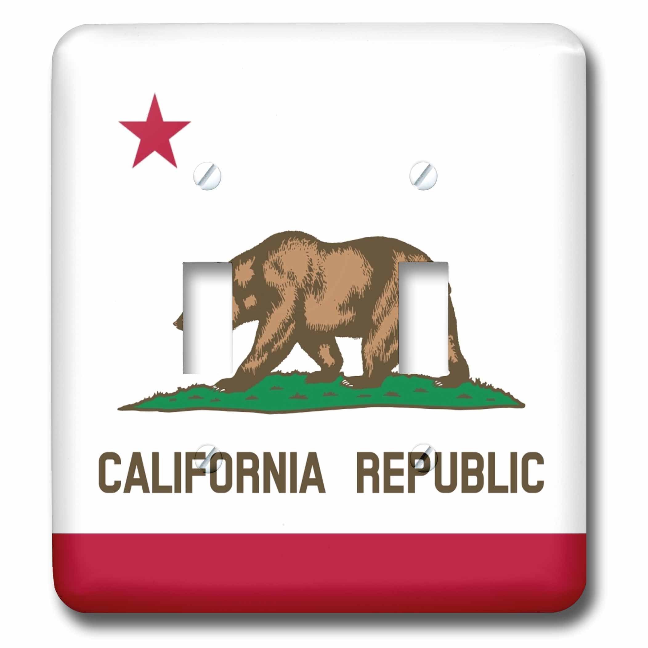3dRose lsp_158295_2 Flag of California Republic Us American State United States of America The Bear Flag White Red Double Toggle Switch