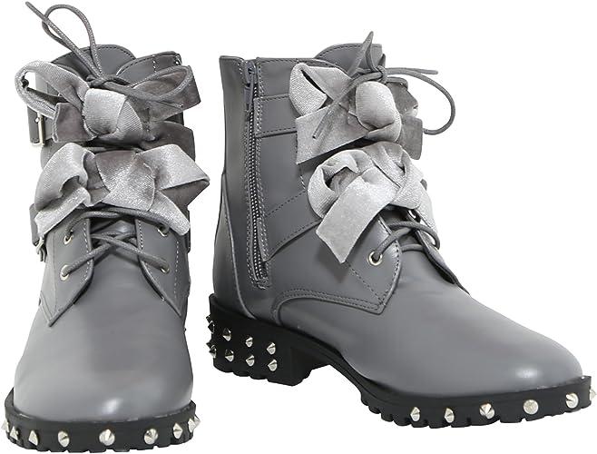 Uk Ladies Women's Double Buckle//Lace Grey Biker Ankle Flat Boots Size 4 5 6 7