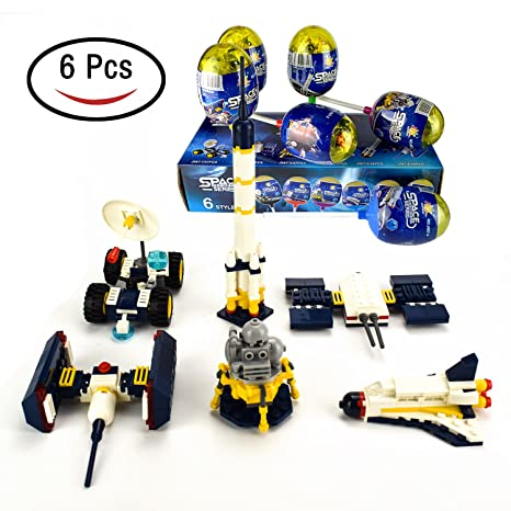 IAMGlobal Easter Eggs Filled with Space Building Blocks, 6 Eggs with  Different Bricks to Build Space Reconnaissance Vehicle, Artificial  Satellite,