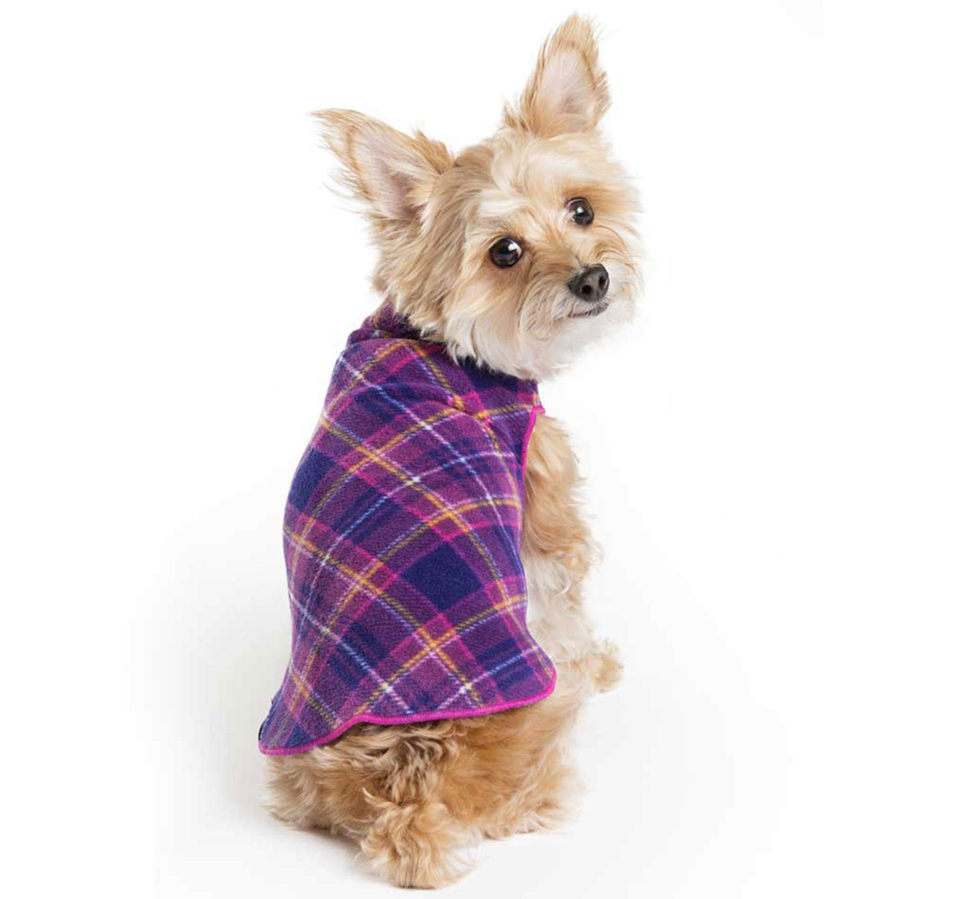 Gold Paw Stretch Fleece Dog Coat - Soft, Warm Dog Clothes, Stretchy Pet Sweater - Machine Washable, Eco Friendly - All Season, Mulberry Plaid, Size 24 by Gold Paw