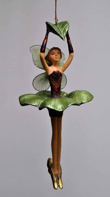 kupfer 17 cm Deko H/änger Blumenelfe mit Blatt Fee gr/ün lila