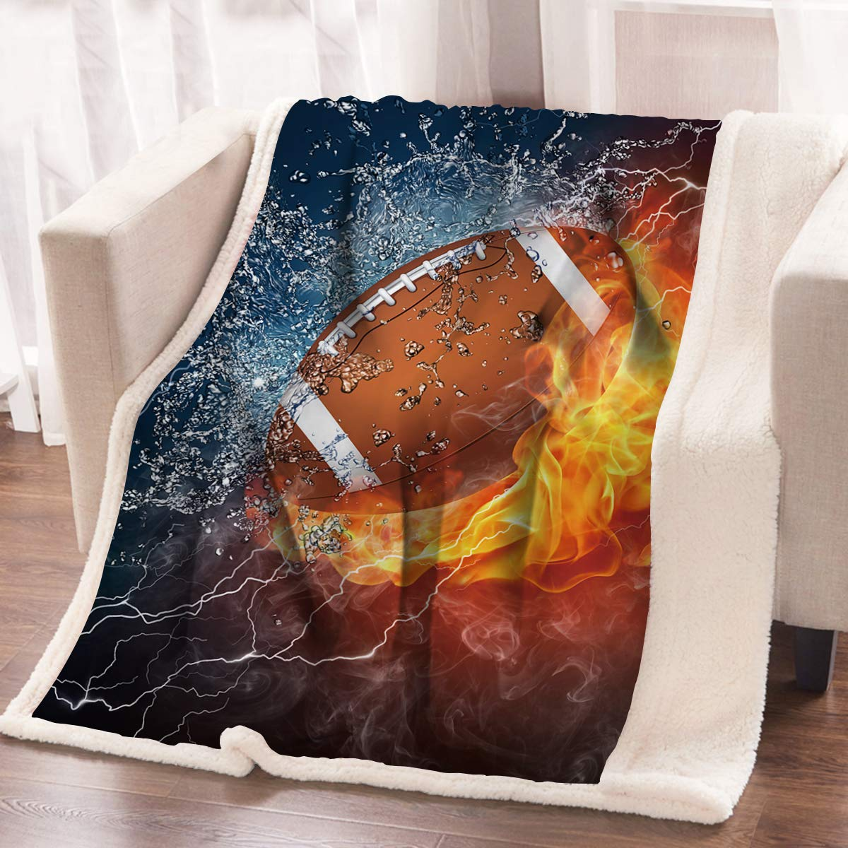 ARIGHTEX American Football Fleece Throw Blanket Kids Boy Sports Printed Sherpa Blanket Fluffy Blanket for Bed or Couch (50 x 60 Inches) by ARIGHTEX