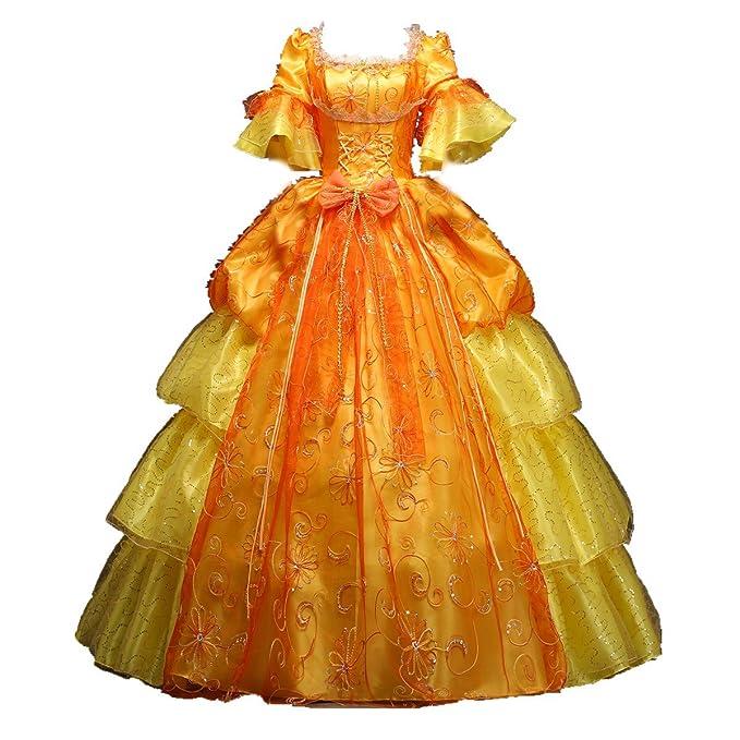 Xnaihuafei vestido de Royal siglo XVIII disfraz Fashion ropa Medieval Vestido de vestido de fiesta Amarillo